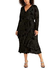 RACHEL Rachel Roy Plus Size Flocked Jersey Crossover Dress