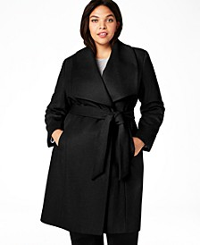 Plus Size Belted Wool Wrap Coat