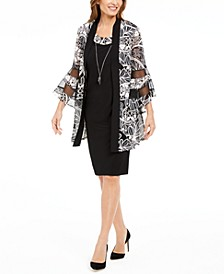 Petite Necklace Dress & Printed Bell-Sleeve Jacket