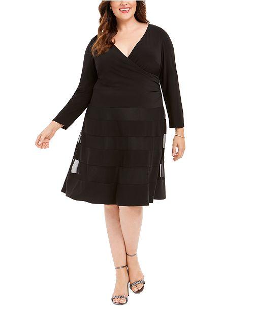 Plus Size Surplice Illusion-Stripe Dress