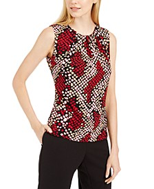 Snake-Print Pleated-Neck Top