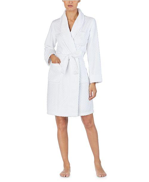 Lauren Ralph Lauren So Soft Herringbone Short Wrap Robe