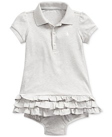 Polo Ralph Lauren Baby Girls Interlock Ruffle Dress