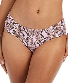 RACHEL Rachel Roy Python Printed Ruched-Side Bikini Bottoms