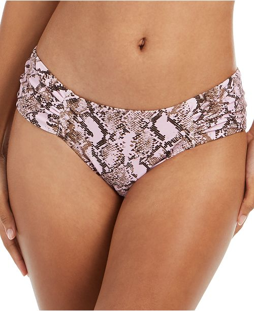 RACHEL Rachel Roy Python Printed Ruched-Side Bikini Bottoms
