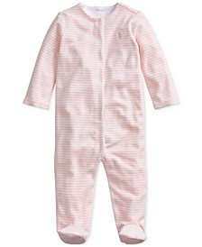 Baby Girls Velour Stripe One Piece Coverall