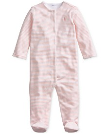 Polo Ralph Lauren Baby Girls Velour Stripe One Piece Coverall