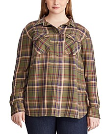 Plus Size Plaid Patch-Pocket Shirt