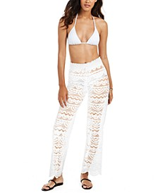 Juniors' Solid Crochet Cover-Up Pants, Created for Macy's