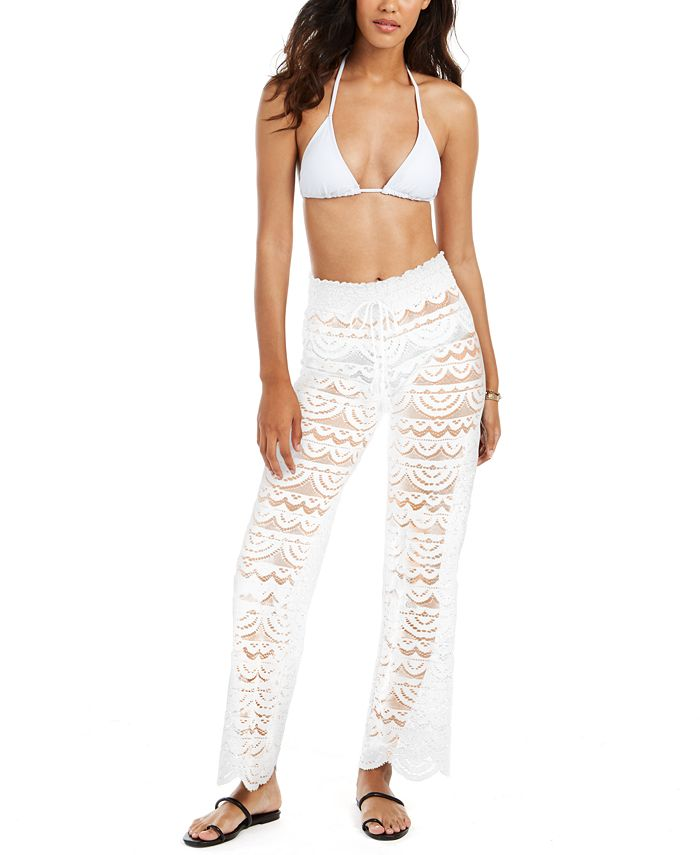 Miken - Juniors' Scalloped Lace Cover-Up Pants