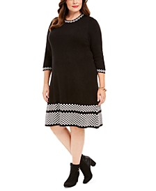 Plus Size Printed-Edge Fit & Flare Dress