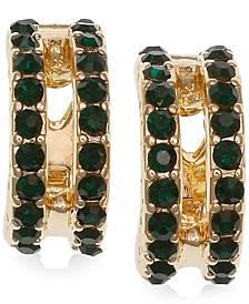 Gold-Tone Pavé Double-Row Clip-On Huggie Hoop Earrings