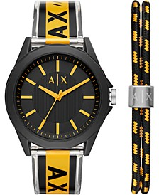 Men's Drexler Black & Yellow Polyurethane Strap Watch 44mm Gift Set