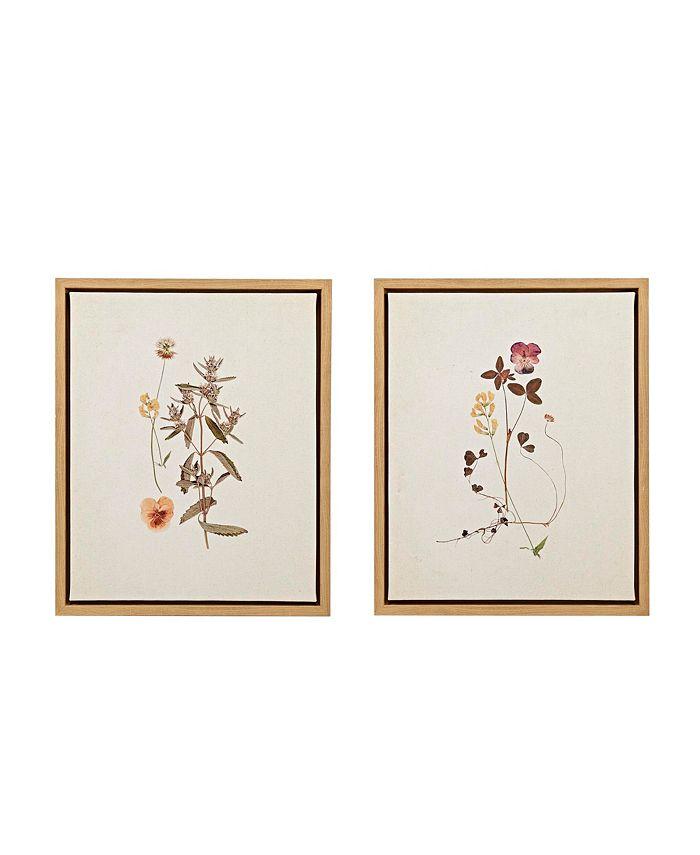 Martha Stewart Collection - French Herbarium Set Framed Linen Canvas 2-Pc Set