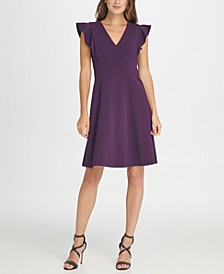 V-Neck Ruffle Cap Sleeve Fit  Flare Dress