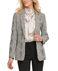 Petite Animal Print Single-Button Blazer