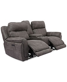 """Bryer 82"""" Fabric Dual Power Loveseat with Console and USB"""