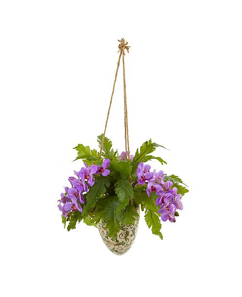 "Nearly Natural 26"" Phalaenopsis Orchid and Fern Artificial Plant in Hanging Vase"