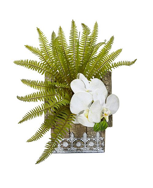 "Nearly Natural 13"" Phalaenopsis Orchid and Fern Artificial Plant in Hanging Floral Design House Planter"