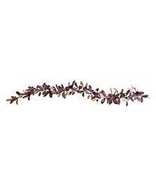6' Fall Laurel Leaf with Berries Artificial Garland, Set of 2