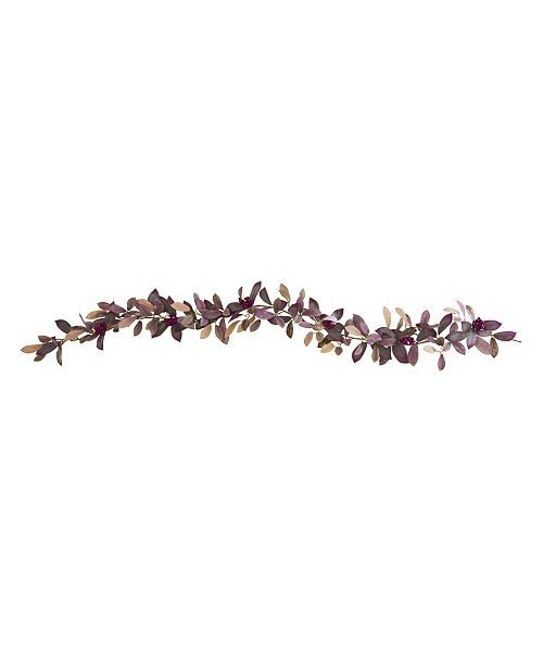 Nearly Natural 6' Fall Laurel Leaf with Berries Artificial Garland, Set of 2