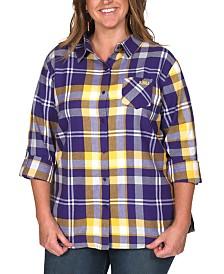 UG Apparel Women's Plus Size LSU Tigers Flannel Boyfriend Plaid Button Up Shirt
