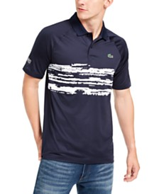 Lacoste Men's Performance Stretch Novak Djokovic Stripe Raglan Polo Shirt