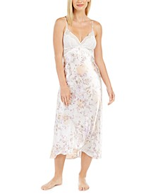 Women's Lace-Trim Satin Floral-Print Chemise Nightgown