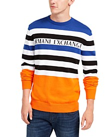 Men's Regular-Fit Colorblocked Stripe Logo Sweater