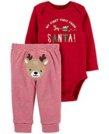 Baby Boys or Baby Girls 2-Pc. Santa Bodysuit & Pants Set