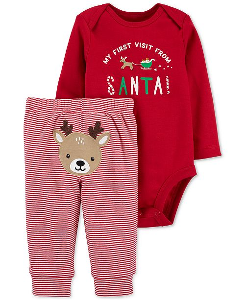 Carter's Baby Boys or Baby Girls 2-Pc. Santa Bodysuit & Pants Set