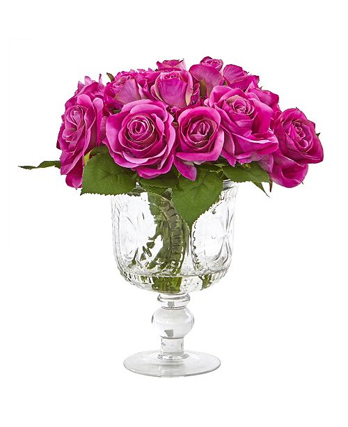 Nearly Natural Rose Artificial Arrangement in Royal Glass Urn
