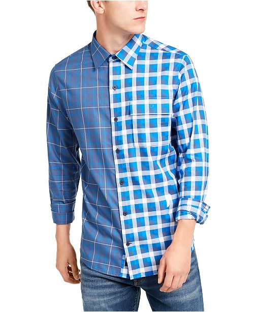 DKNY Men's Double-Plaid Shirt