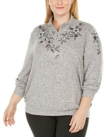 Plus Size Well Red Embroidered Zip-Neck Top