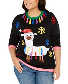 Derek Heart Trendy Plus Size Tassel-Trim Llama Sweater
