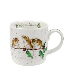 Wrendale Winter Mice Mug, Set of 6