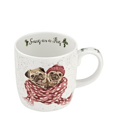 Wrendale Snug as a Pug Mug, Set of 4