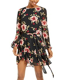 Juniors' Metallic Floral-Print Chiffon Dress