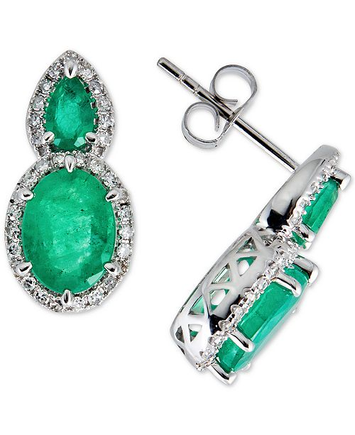 Macy's Emerald (3-1/2 ct. t.w.) & Diamond (1/3 ct. t.w.) Drop Earrings in 14k White Gold (Also available in Ruby or Sapphire)
