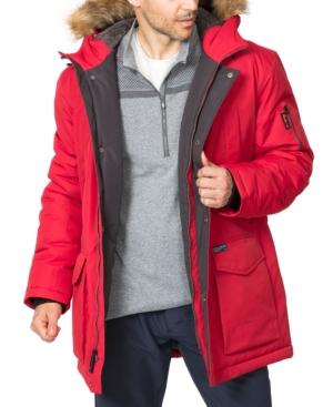 Hawke & Co. Outfitter Men's Logan Faux-fur-trim Parka In Chilli Pepper