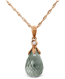 "Briolette Green Quartz (6 ct. t.w.) & Diamond Accent 18"" Pendant Necklace in 14k Rose Gold"