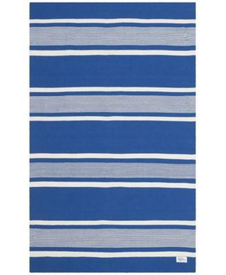 Hanover Stripe LRL2461C Blue 4' X 6' Area Rug