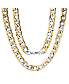 """Steeltime Men's Two Tone 18k gold Plated Stainless Steel Accented Linear Cut Curb 24"""" Chain Necklaces"""