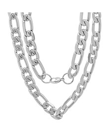 "Men's Stainless Steel Accented 10mm Figaro Chain Link 24"" Necklaces"