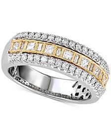 Diamond Three Row Band (5/8 ct. t.w.) in 14k Gold & White Gold