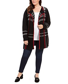 Plus Size Plaid Open-Front Cardigan, Created For Macy's
