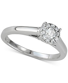 Diamond Halo Engagement Ring (1/3 ct. t.w.) in 14k White Gold