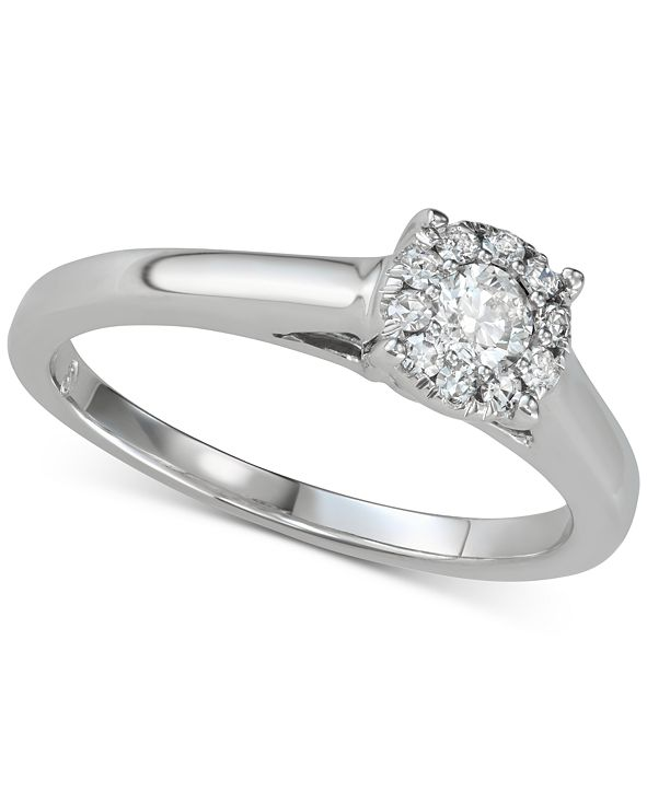 Macy's Diamond Halo Engagement Ring (1/3 ct. t.w.) in 14k White Gold
