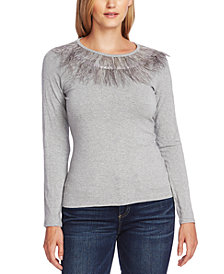 Vince Camuto Feather-Trim Sweater