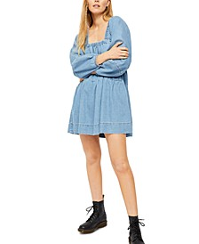 Blue Jean Babydoll Mini Dress